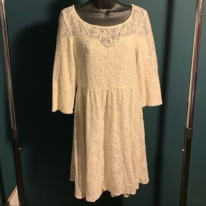NWOT Free People beige/cream/off-white lace dress